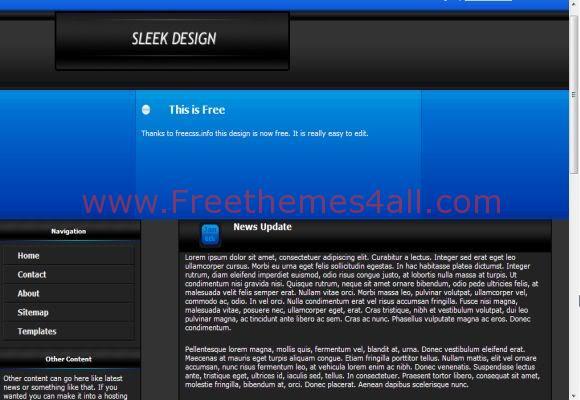 Free CSS Black Blue Web2.0 Template