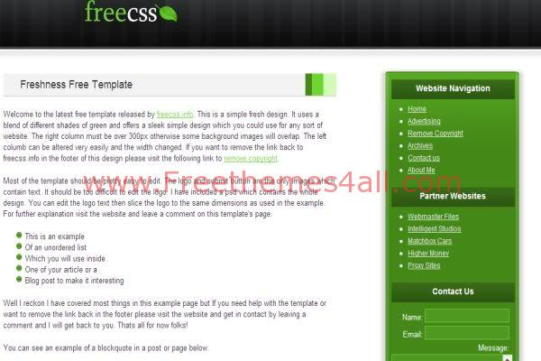 Free CSS Fresh Green White Web2.0 Template