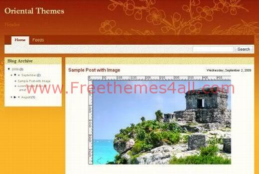 Free Blogger Oriental Orange Web2.0 Template