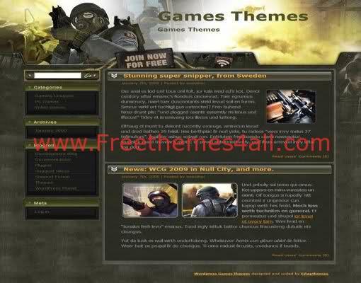 Free Wordpress War Games Green Theme Freethemes4all
