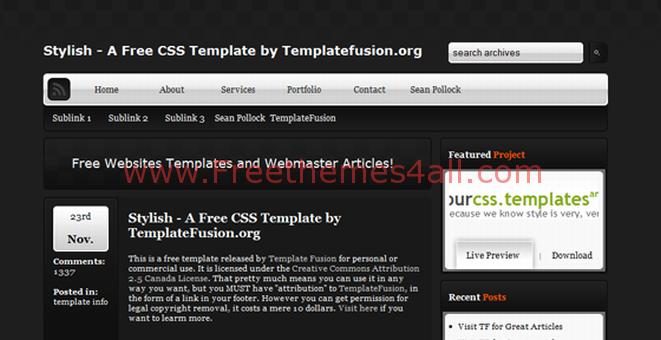 Free CSS Gray Silver Black Web2.0 Template