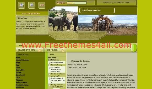 Free Joomla Green Animals Portal Template