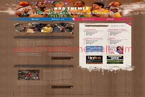 Free WordPress NBA Basketball Web2.0 Theme Template