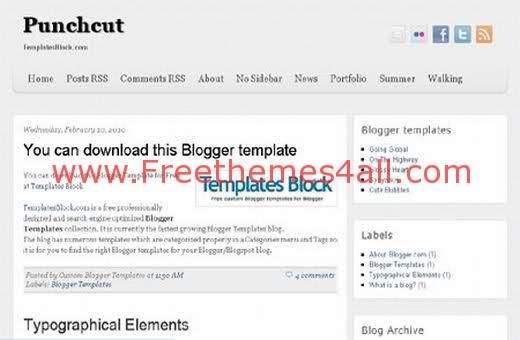 Free Blogger Punchcut White Template