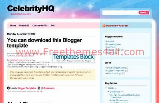 Free Web2.0 Blogger CelebrityHQ Template