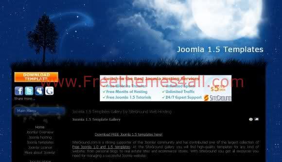 Free Joomla Dark Blue Moon Web2.0 Theme Template