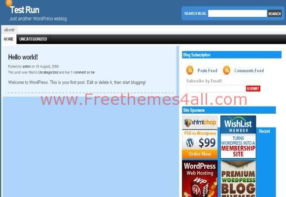 Free WordPress Simple Blue Theme Template