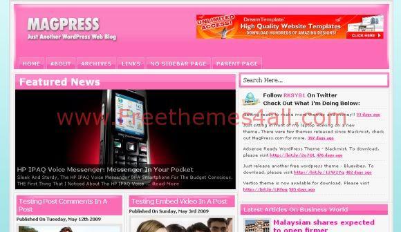 Free WordPress Pink Magazine Web2.0 Theme