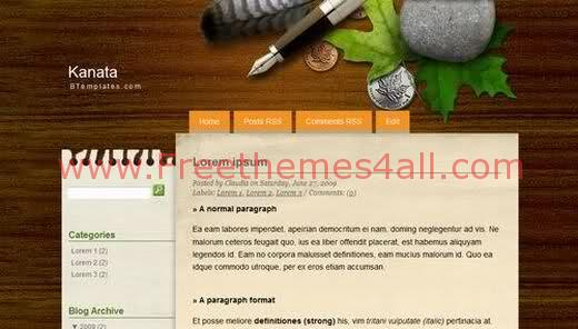 Free Blogger Wood Template Theme