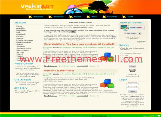 Free Phpnuke Vector Arts Web2.0 Theme Template