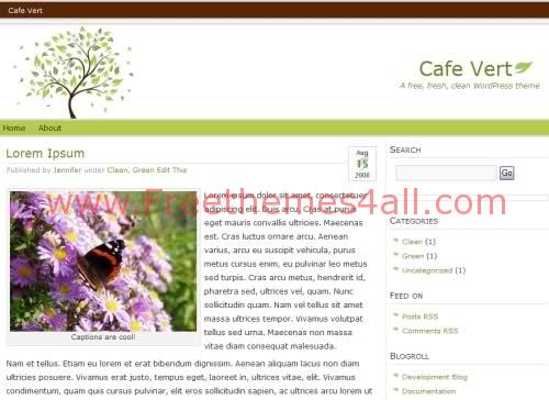 Free WordPress Nature Leaf Web2.0 Theme Template
