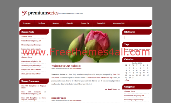 Free CSS Dark Brown Red Blog Web2.0 Template