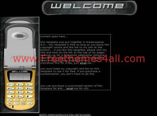 Free Flash Black Mobiles and SMS Website Template