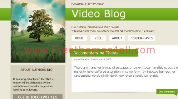 Free CSS Film Videos Green Website Template