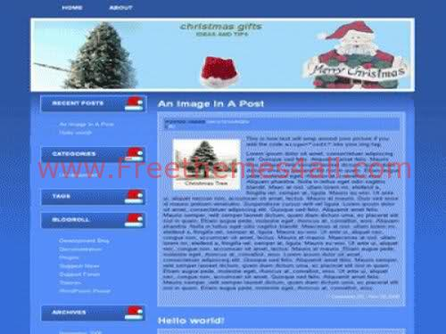 Free WordPress Christmas Blue Theme Template