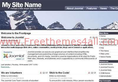 Free Joomla Mountains Bleu Travel Web2.0 Theme Template