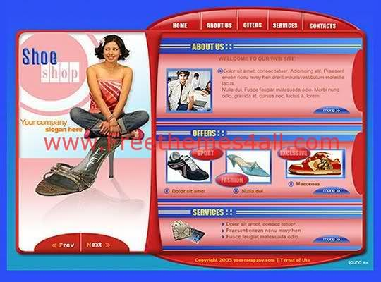 Free Flash Shoes Pink Bleu Shop Web2.0 Template