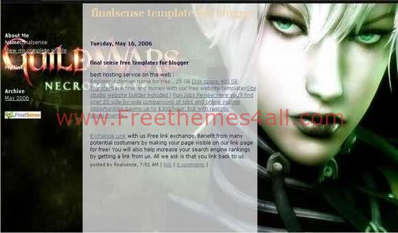 Free Blogger Guild Wars Fantasy Web2.0 Template