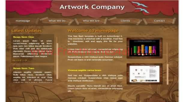 Free Flash Art Work Company Brown Web2.0 Template