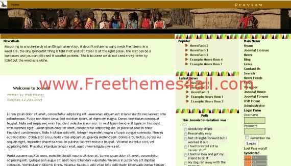 Free Joomla Africa Culture Website Yellow Template