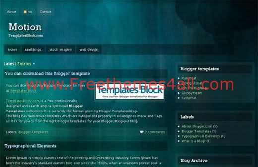 Free Blogger Dark Motion Green Template