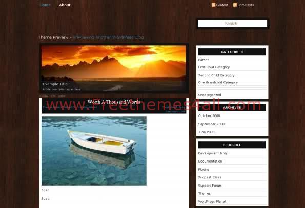 Free WordPress Wood Sunset Brown Web2.0 Template