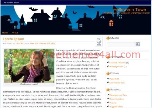 Free WordPress Halloween Town Web2.0 Theme Template
