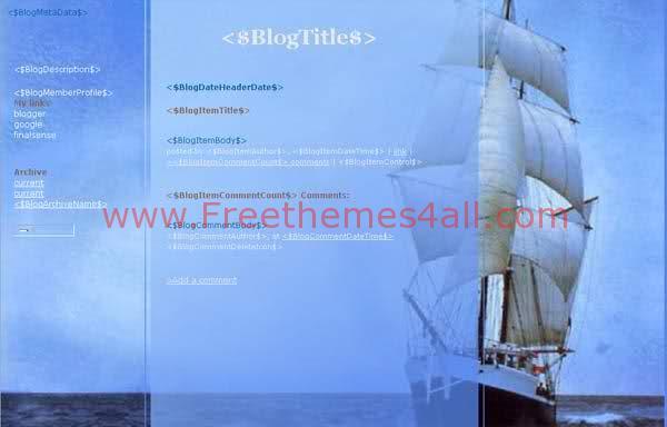 Free Blogger Boat Sea Blue Web2.0 Template