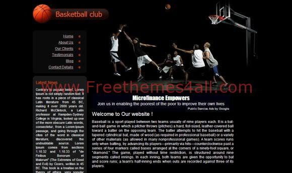 Free CSS Black Basketball Website Template