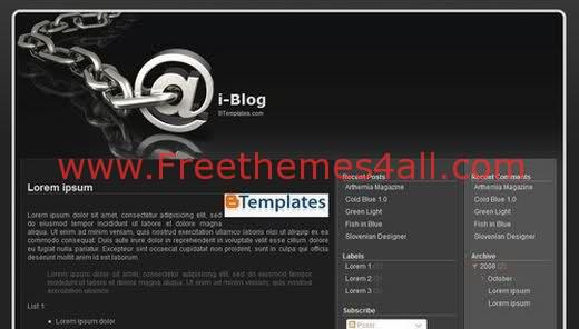 Free Blogger Black Grey Internet Web2.0 Template