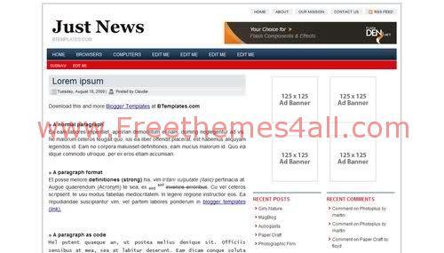 Free Blogger News Magazine Blog Web2.0 Template