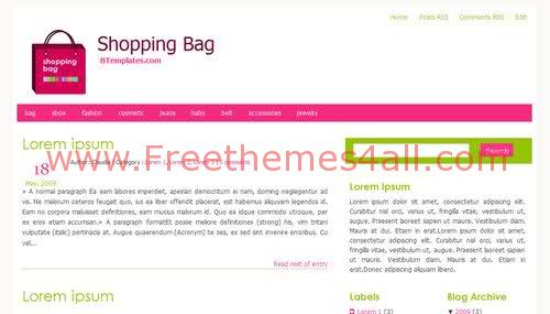Free Blogger Pink Shopping Girls Web2.0 Template
