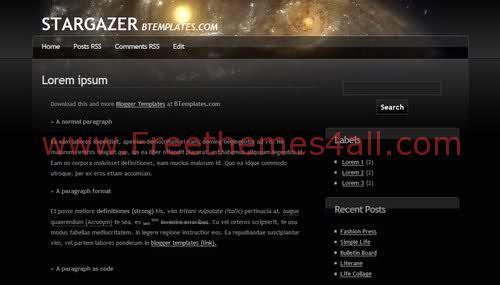 Free Blogger Space Stars Black Web2.0 Template
