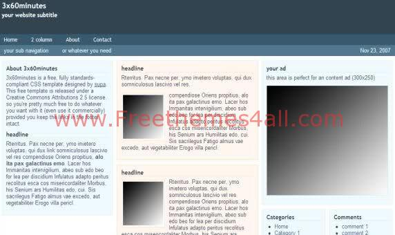 Free CSS Gray Blue Minutes Web2.0 Template
