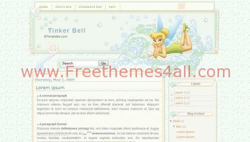 Free Blogger Kids Tinker Bell Web2.0 Template