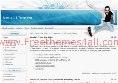Free Joomla Music Party Bleu Web2.0 Theme Template