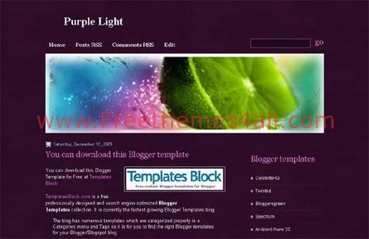 Free Blogger Purple Light Web2.0 Template