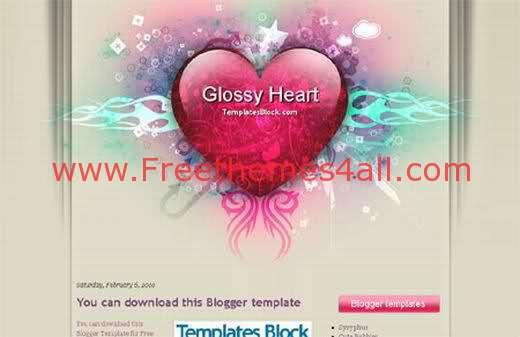 Free Blogger Glossy Heart Red Template