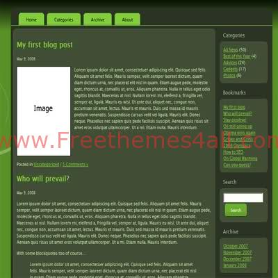 Free HTML CSS Dark Green Web2.0 Template