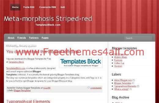 Free Blogger Red Meta-morphosis Template