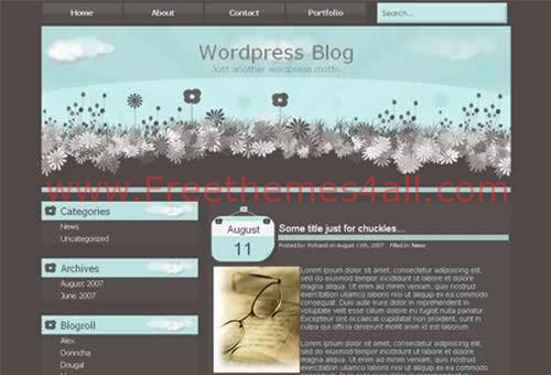 Free WordPress Garden Bleu Web2.0 Theme Template