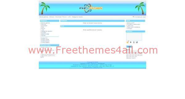 Free php-fusion Ocean Bleu Island Web2.0 Theme