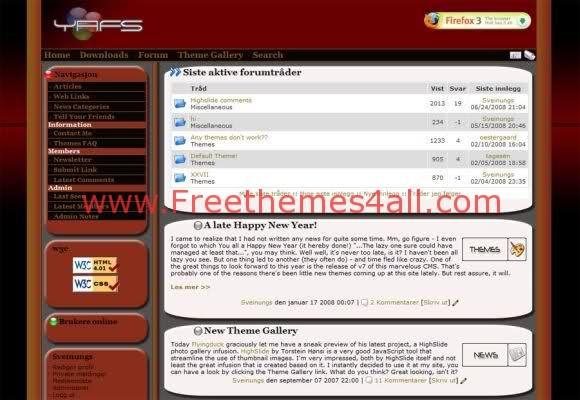 Free php-fusion Dark Brown Web2.0 Theme Template