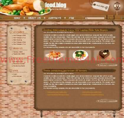 Free WordPress Restaurant Menu Web2.0 Theme Template