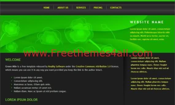 Free CSS Dark Green Flowers Black Blog Web2.0 Template