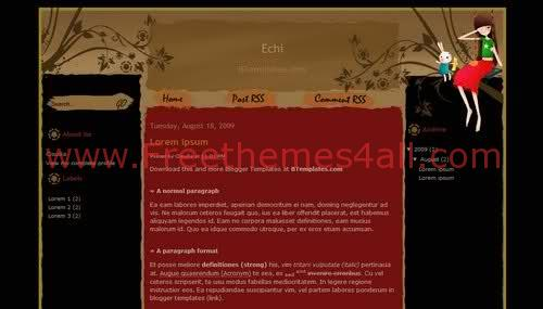Free Blogger Echi Kids Black Web2.0 Template