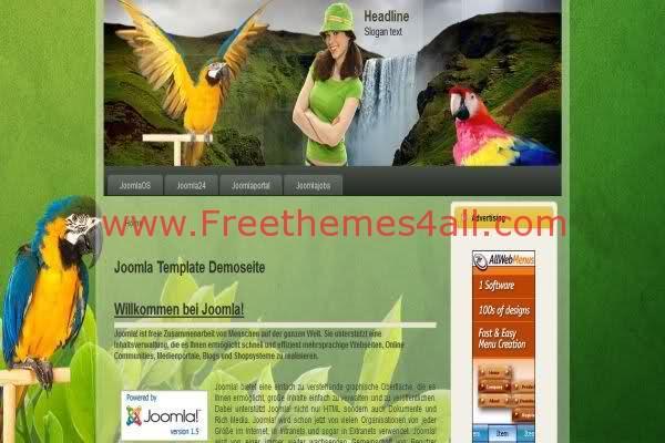 Free Joomla Birds Nature Green Web2.0 Template