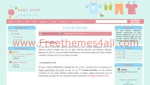 Free Blogger Baby Kids Shop Web2.0 Template