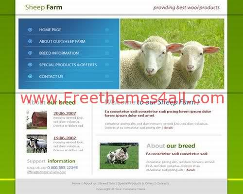 Free HTML CSS Cattle Farm Cows Template