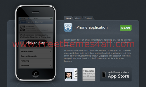 Free CSS Iphone Applications Black Website Template